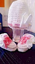 BABY CROCHET TRAINERS AND HAT 100%COTTON,LACES TRAINERS RIBBON WHITE