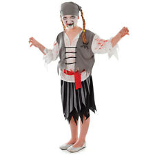 CHILD ZOMBIE PIRATE GIRL COMPLETE OUTFIT PIRATES OF THE CARIBBEAN FANCY DRESS