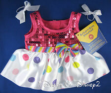 BUILD-A-BEAR NEW RAINBOW DRESS POLKA DOTS FUCHSIA SEQUINS TEDDY GIRL CLOTHES