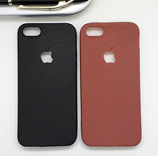 FOR APPLE IPHONE 5G/5S LEATHER FINISH SILICON BACK CASE COVER.