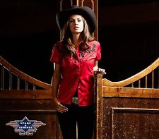 NEW WESTERN EMBROIDERED RETRO COWGIRL SHIRT STARS AND STRIPES ELLA