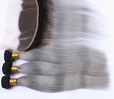 Luxury Brazilian Straight Grey Silver Dark Roots Hair Extensions + 13x4 Frontal