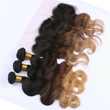 Luxury Brazilian Three Tone Blonde Body Wave Ombre Hair Extensions + Frontal