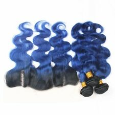 Luxury Brazilian Body Wave Royal Blue Dark Roots Hair Extensions + 13x4 Frontal