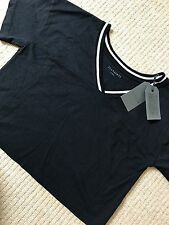 "ALL SAINTS WOMEN'S BLACK CHALK ""BREEZE CONTRAST"" TEE T-SHIRT - XS M - NEW TAGS"