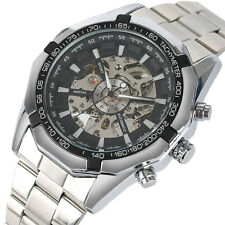 Formal Silver/Gold Stainless Steel Men Self Wind Mechanical Wristwatch Gift Box