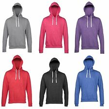 AWDis Heather Hoodie Slim Fit Hood Contrast White Flat Drawcord Hoody JH008