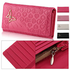 Lady Women butterfly PU Leather Long Purse Wallet Clutch Zip Bag Card Holder UK
