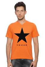 Clifton Men's Star Printed Melange T-Shirt V-Neck - Orange -Black Star