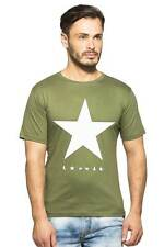 Clifton Men's Star Printed T-Shirts Half Sleeve R-Neck - Olive-White Star