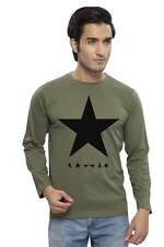 Clifton Men's Star Printed Full Sleeve R-Neck T-Shirts - Olive-Black Star