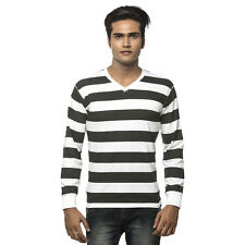 Clifton Men's Bold Stripes V-Neck Full Sleeve T-Shirt - Black