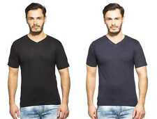 Clifton Men's Combo Half Sleeve V-Neck T-Shirt-Black-Navy
