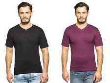 Clifton Men's Combo Half Sleeve V-Neck T-Shirt-Black-Wine
