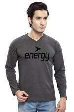 Clifton Mens FT Printed Full Sleeve V-Neck T-Shirt-Charcoal Melange-Black Energy