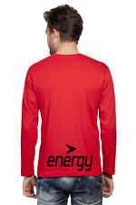 Clifton Mens BB Printed Full Sleeve V-Neck T-Shirt-Bright Red-Black Energy
