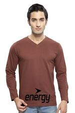 Clifton Mens FB Printed Full Sleeve V-Neck T-Shirt-Brown-Black Energy