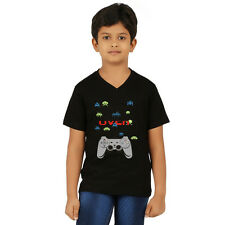 Clifton Boys Printed T-Shirts H/S V-Neck-Black-Game Over