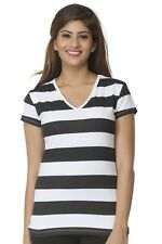 Clifton Womens Bold Stripes Half Sleeve V-Neck T-Shirt -Black