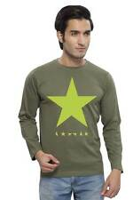 Clifton Mens Star Printed T-Shirts F/S R-Neck-Olive-Green Star