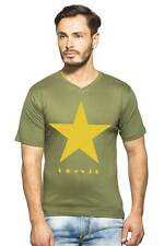 Clifton Mens Star Printed T-Shirts H/S V-Neck-Olive-Yellow Star