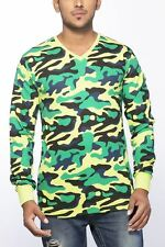 Clifton Mens Army T-Shirts Full Sleeve V-Neck-Lime Green