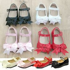 Girls Childrens Ribbon Double Bow Mary Jane Christening Wedding Party Shoes Size