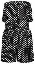Womens Polka Dot Print Frilled Boob Tube Top Shorts Playsuit Jumpsuit 8-22