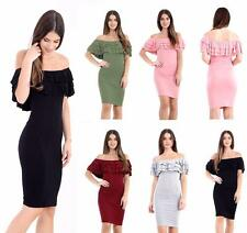New Ladies Ruffle Frill Bardot Bodycon Midi Dress Off Shoulder Women Party Dress