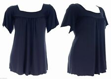 Womens New Navy ITY Square Neck Stretch Top Size 16 18 20 22 24 26 Ladies