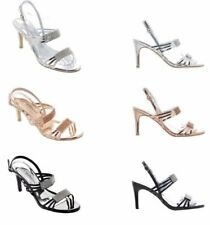 Ladies Rose Gold Sparkly Diamante High Heel Evening Sandals Silver Black Size