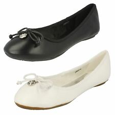 Ladies Spot On Flat Ballerina Shoes with Bow Detail