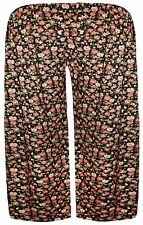 New Womens Plus Size Black Ethnic Print Wide Leg Culottes Shorts 16-26