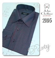 Blended Cotton Mens Formal summer Business shirt Blue Brown Strips NEW Free Ship