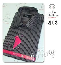 Black Stripes Formal Mens Blended Cotton Shirt Party Evening Occasion Wear NEW