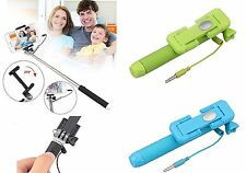 Mini Handheld Mono pod Selfie Stick Telescopic Wired Remote Mobile Phone Holder
