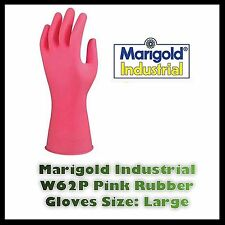 Marigold Industrial Heavy Duty Pink Rubber Gloves W62P Size Large 8 1/2 Lined Uk