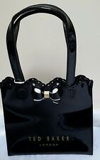 BNWT AUTHENIC TED BAKER SMALL BLACK PATIENT BOW SCALLOPED EDGE TOTE SHOPPER BAG
