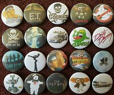 80's Classic Movies Button Badges (Collection 1).  Pins. Collector. Bargain. :0)