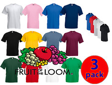 3 Pack Mens Fruit Of The Loom 100% Cotton Plain  T Shirt T-Shirt