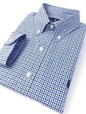 Ralph Lauren Men's Shirt Blue Tattersall Check Poplin Standard Fit Long Sleeve