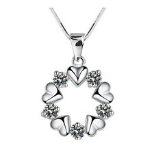 FASHIONS FOREVER® 925 Sterling Silver Zirconia-Crystal Flower Necklace-Pendant