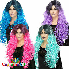 Womens Ladies Long Curly Gothic Glamour Wig with Fringe Fancy Dress Accessory