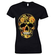 Flower Skull Candy Day Of The Dead Mexico Sugar Skull Gothic Womens T Shirt #1