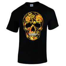 Flower Skull Candy Day Of The Dead Mexico Sugar Skull Gothic Mens T Shirt #1