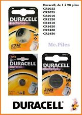 Piles boutons Duracell 3V lithium CR2025