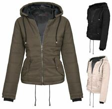 New Womens Hooded Zip Up Puffa Quilted Cropped Padded Jacket Coat