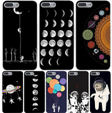 Space World Moon Saturn Astronaut Cat Hard Case Cover For iPhone Samsung Huawie