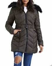 New Womens Zig Zag Quilted Puffer Padded Long Fur Hood Premium Parka Coat Jacket