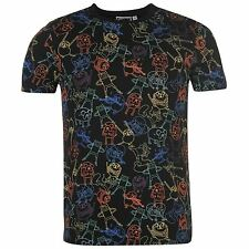 NERO DA UOMO ADVENTURE TIME JAKE & Finn STAMPA INTEGRALE maglietta t-shirt top